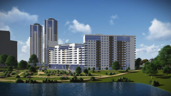 Housing and office complex with social and commercial infrastructure and underground parking, Kiev